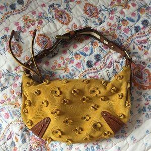 Louis Vuitton Onatah Fleurs Mustard suede bag